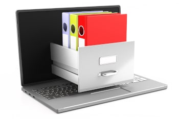 Online office filing, document data archive storage. Computer laptop isolated on white background. Digital business administration concept. 3d illustration