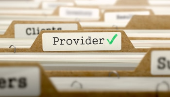 Providers Concept. Word on Folder Register of Card Index. Selective Focus.